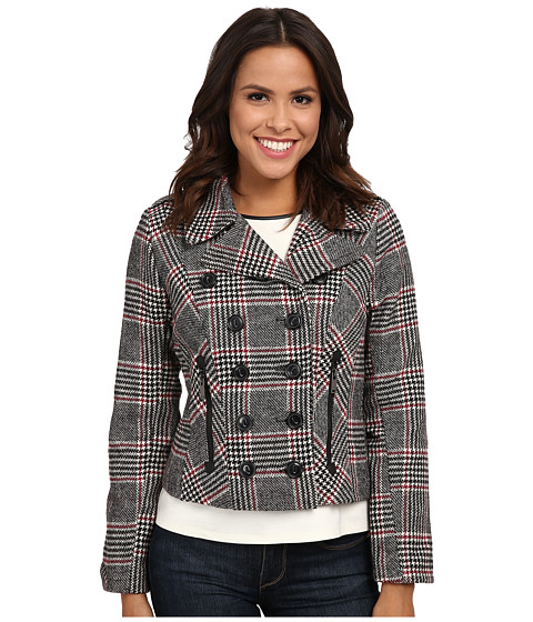 dollhouse - Double Breasted Notch Collar Jacket w/ Zipper Pockets (Norah Plaid) Women's Coat