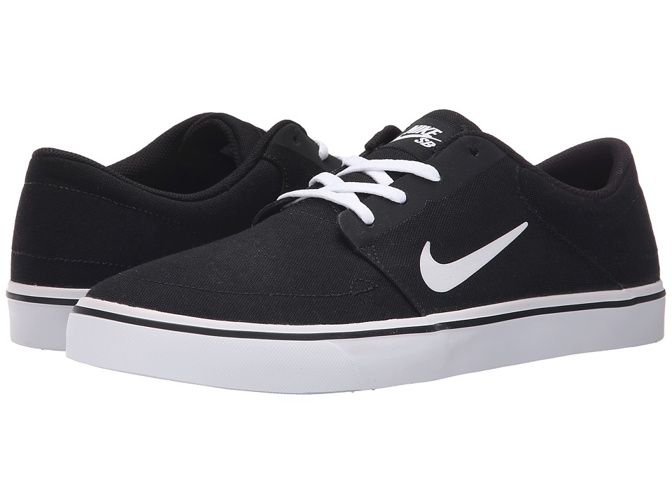 Nike SB - Portmore Canvas (Black/White 2) Men's Skate Shoes