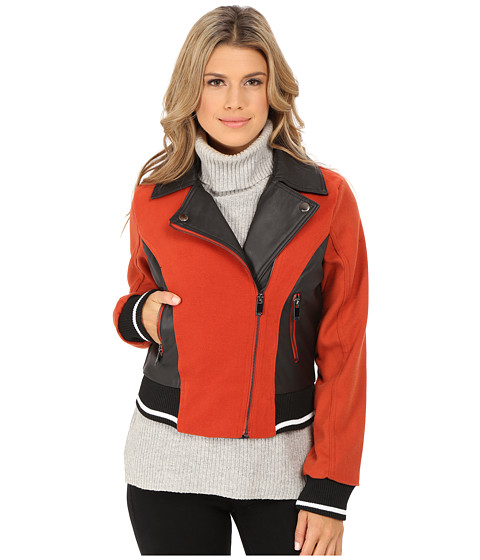 dollhouse - Asymetric Zip Baseball Jacket w/ Striped Knit Trim (Blood Orange) Women's Coat
