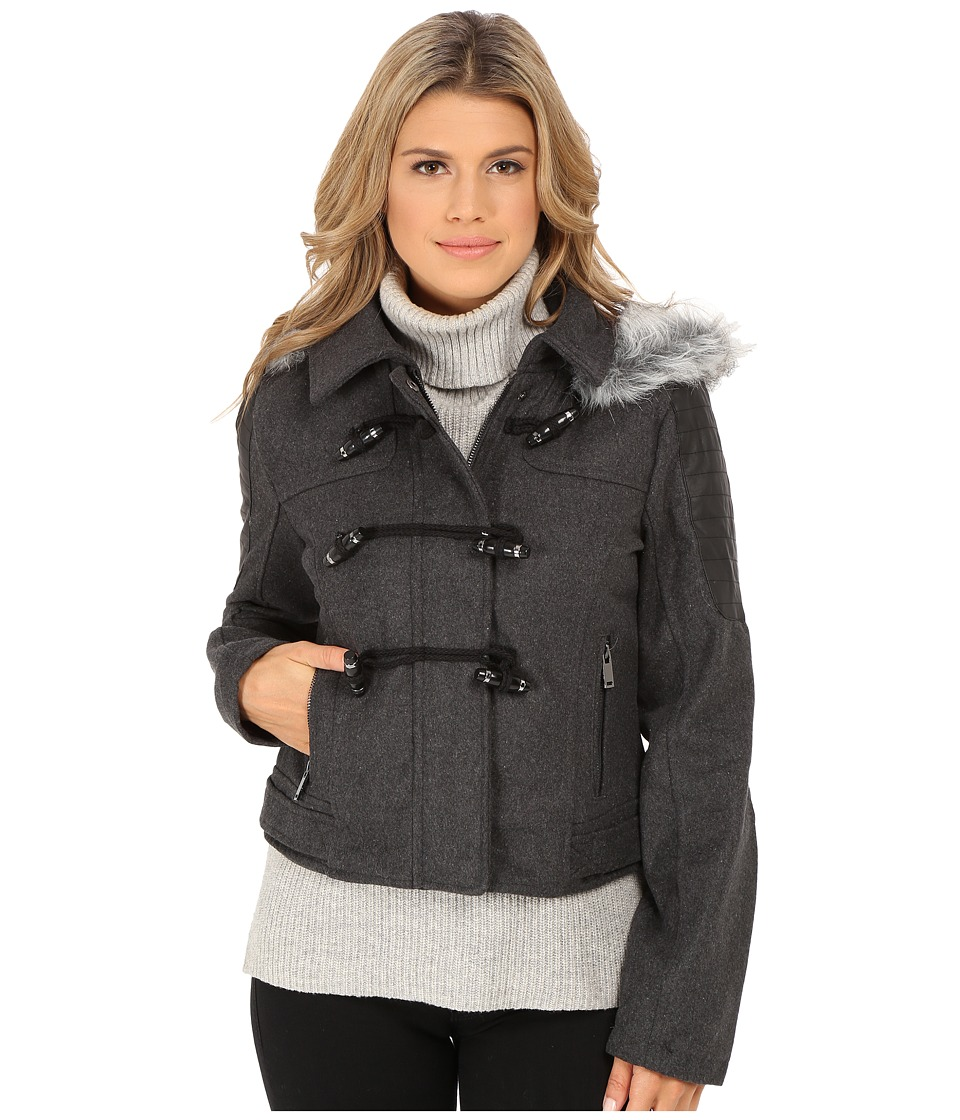 dollhouse - Zip Bomber Jacket w/ Toggle Closings Faux Fur Hood (Charcoal) Women's Coat