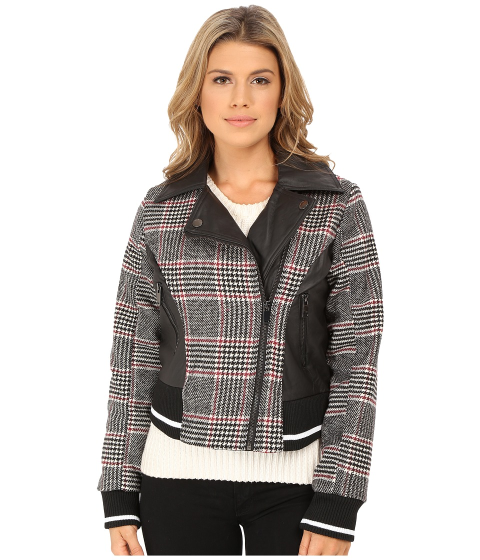 dollhouse - Asymetric Zip Baseball Jacket w\/ Striped Knit Trim (Norah Plaid) Women's Coat