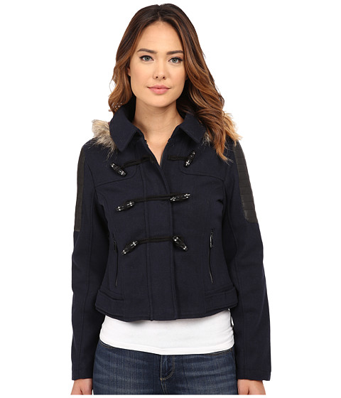 dollhouse - Zip Bomber Jacket w/ Toggle Closings Faux Fur Hood (Navy) Women