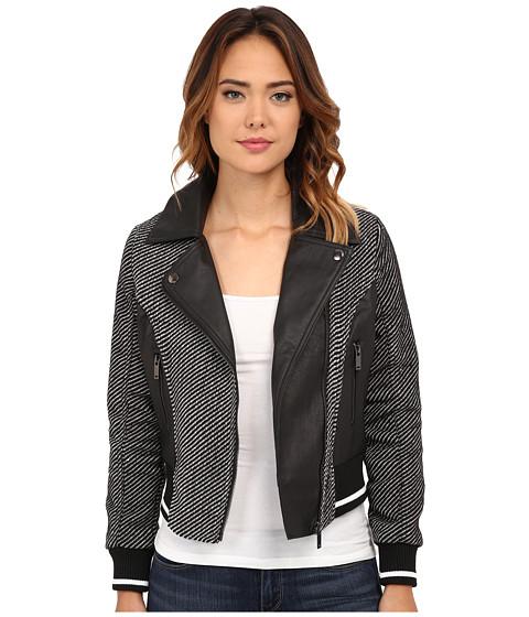 dollhouse - Asymetric Zip Baseball Jacket w/ Striped Knit Trim (Mila Twill) Women's Coat