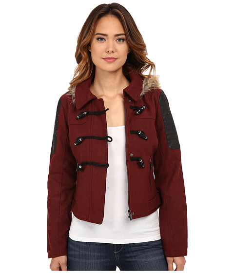 dollhouse - Zip Bomber Jacket w/ Toggle Closings Faux Fur Hood (Brandy Wine) Women's Coat