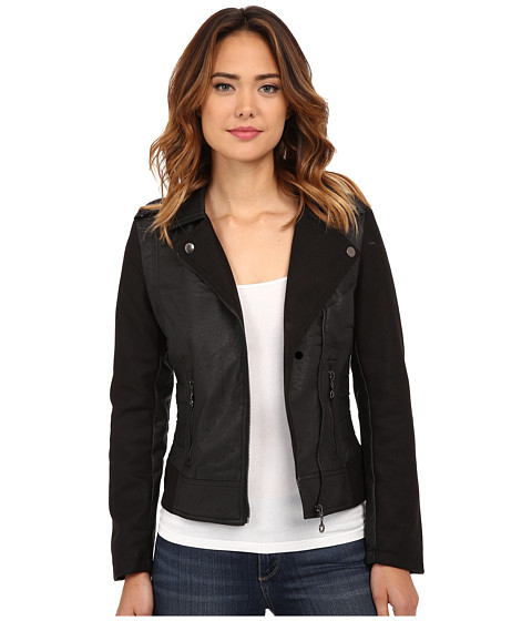 dollhouse - Asymetric Zip Jacket w/ Side Ribbing Zip Pockets (Black) Women