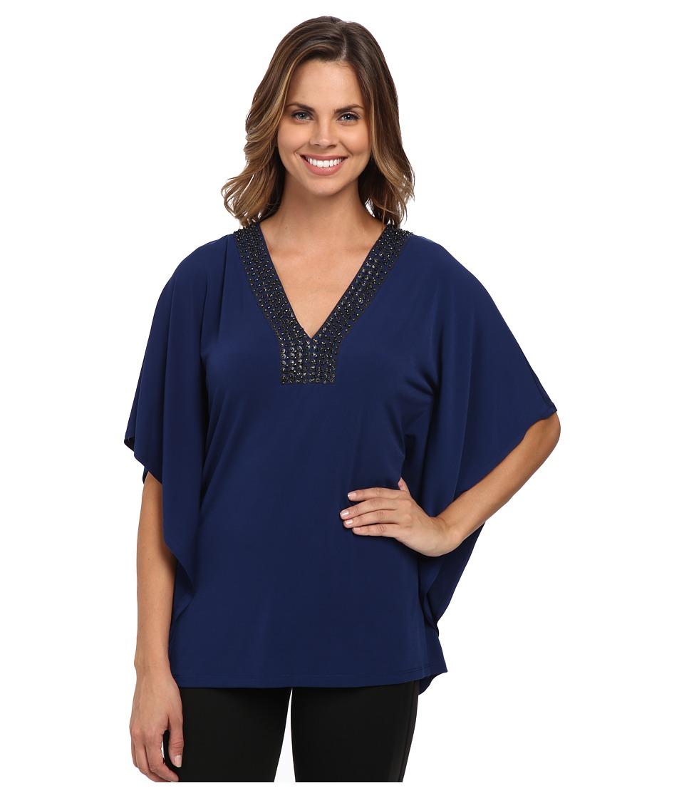 MICHAEL Michael Kors - Embellished Neck Drape Tunic (Sapphire) Women's Blouse