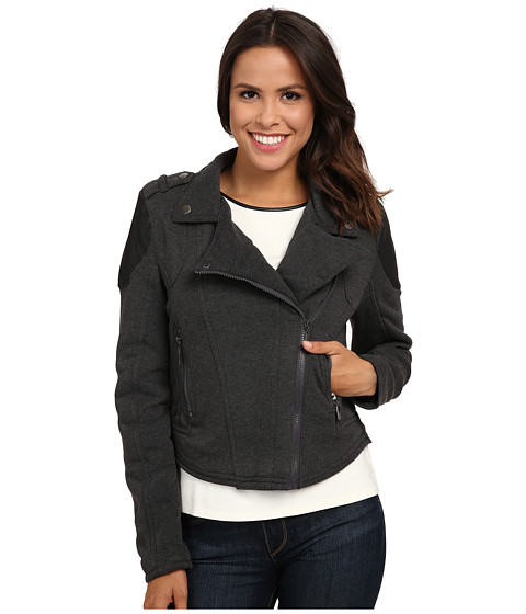 dollhouse - Asymetric Zip Moto Jacket w/ Zip Pockets (Charcoal) Women's Coat