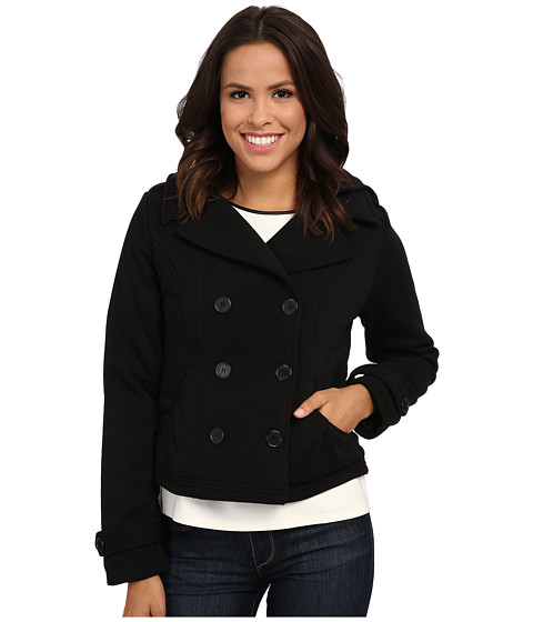 dollhouse - Double Breasted Button-Off Hood Cinched Back Detail (Black) Women's Coat