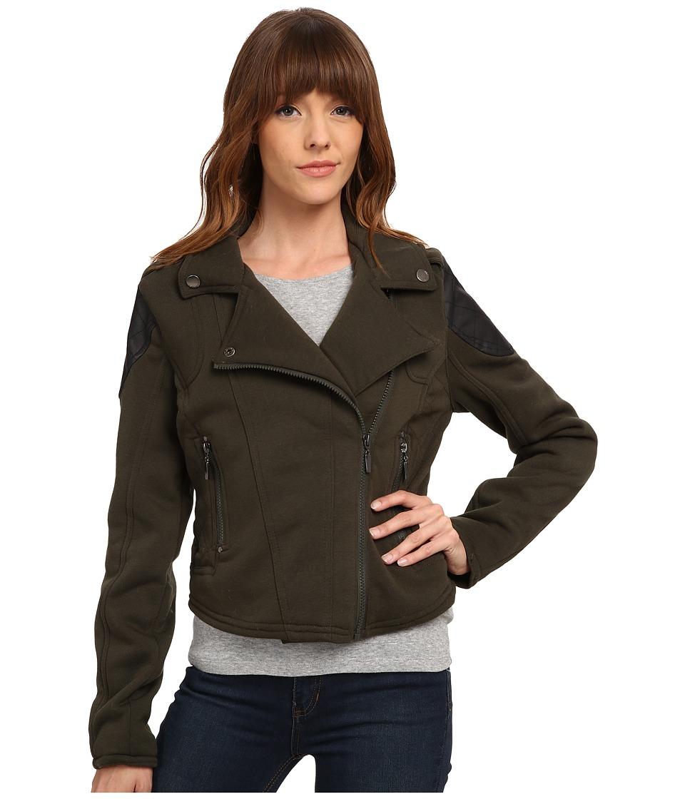 dollhouse - Asymetric Zip Moto Jacket w/ Zip Pockets (Military Green) Women's Coat