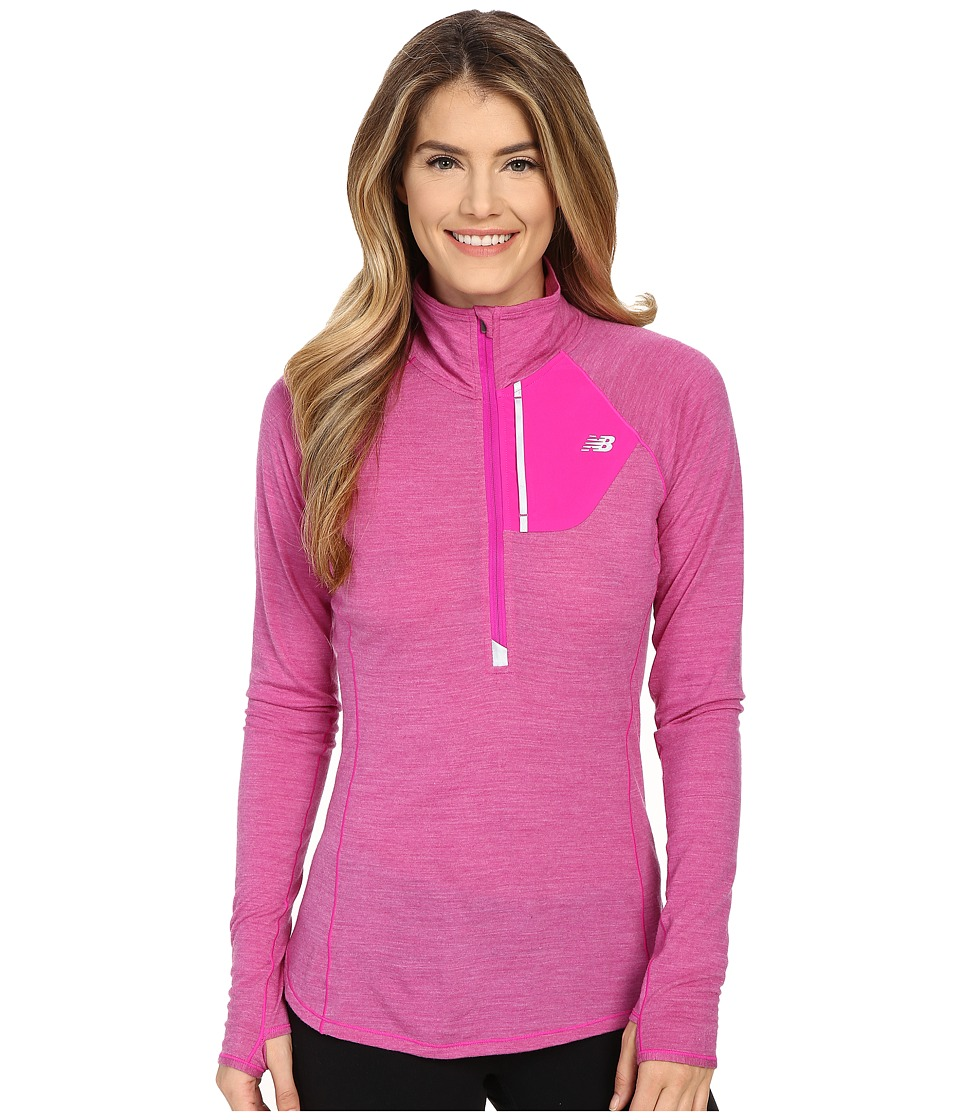 New Balance - Performance Merino 1/2 Zip Top (Azalea) Women's Long Sleeve Pullover