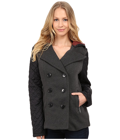 dollhouse - Double Breasted Peacoat w/ Quilted Poly Sleeves (Charcoal) Women