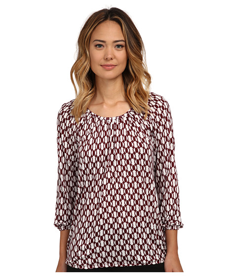 MICHAEL Michael Kors - Alain Spot Peasant Top (Merlot) Women's Clothing