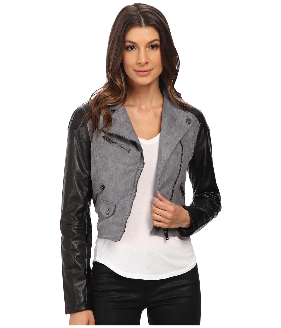 dollhouse - Asymtric Zip Jacket w/ Perforated Side Panels (Graphite) Women's Coat