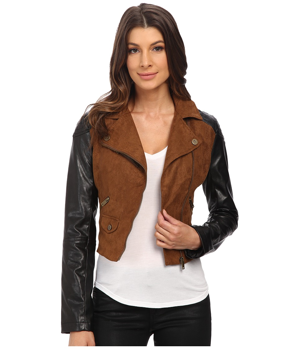 dollhouse - Asymtric Zip Jacket w\/ Perforated Side Panels (Toffee) Women's Coat