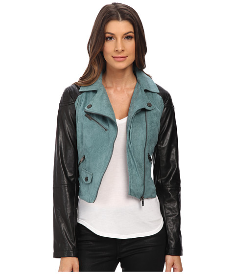 dollhouse - Asymtric Zip Jacket w/ Perforated Side Panels (Sea Foam) Women's Coat