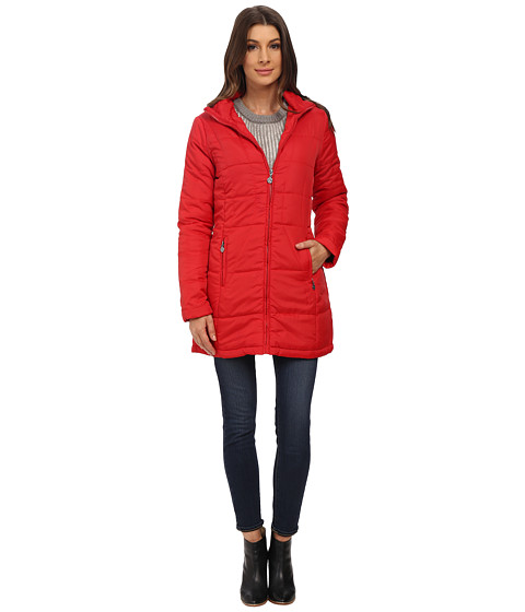 dollhouse - Zip-Front w/ Attached Hood Cinched Back Detail Coat (Red) Women