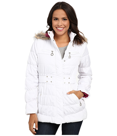 dollhouse - 3/4 Coat w/ Detachable Faux Fur Trim Hood (White) Women's Coat