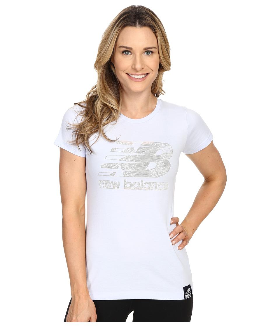 New Balance - Essentials Plus Short Sleeve Logo Tee (Mirage Heather) Women's Short Sleeve Pullover