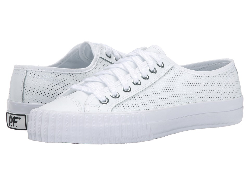 PF Flyers - Center Lo Leather Perf (White) Men's Shoes
