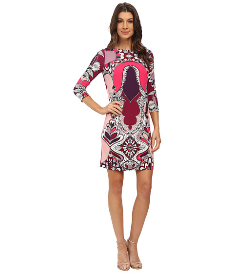 Donna Morgan - 3/4 Sleeve Shift Statement Print Dress (Port Multi) Women
