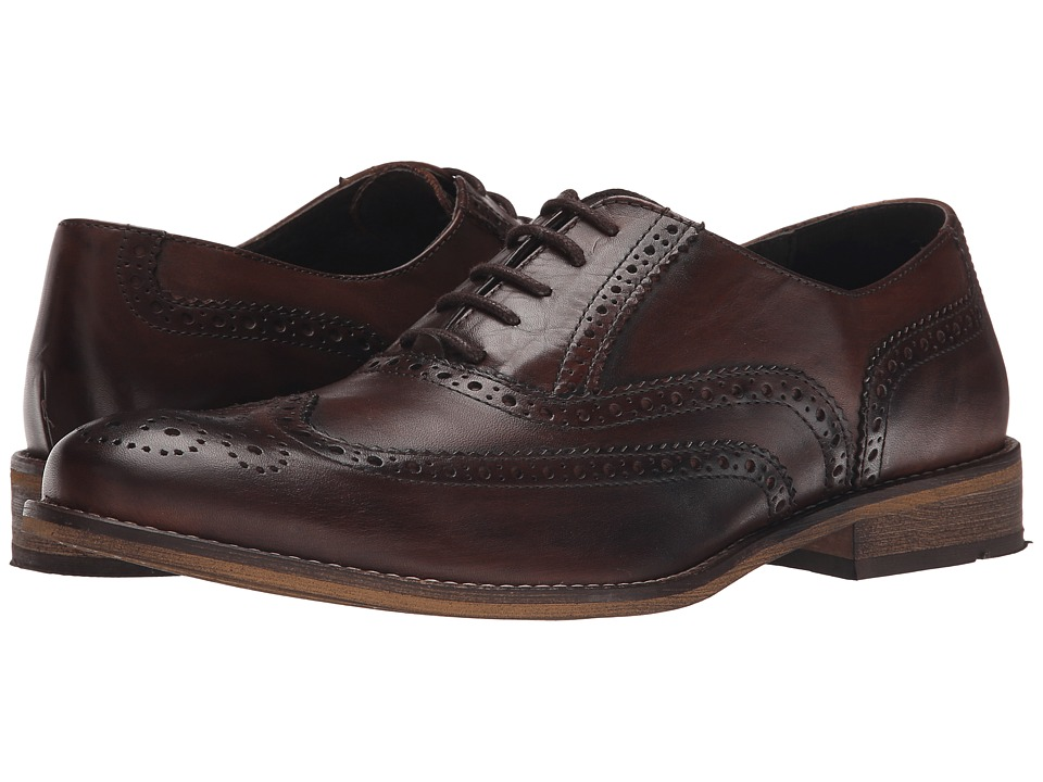 Dune London - Braker (Dark Brown Leather) Men's Lace Up Wing Tip Shoes