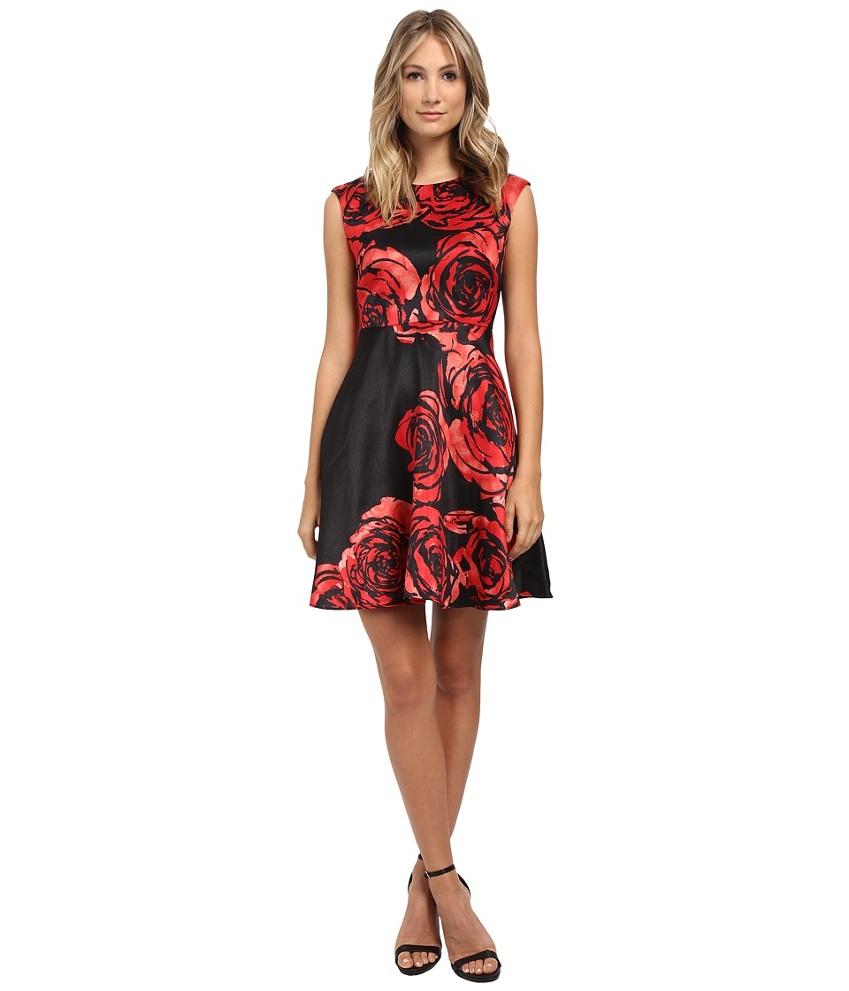 Donna Morgan - Dupioni Fit Flare Dress (Black/Red) Women's Dress