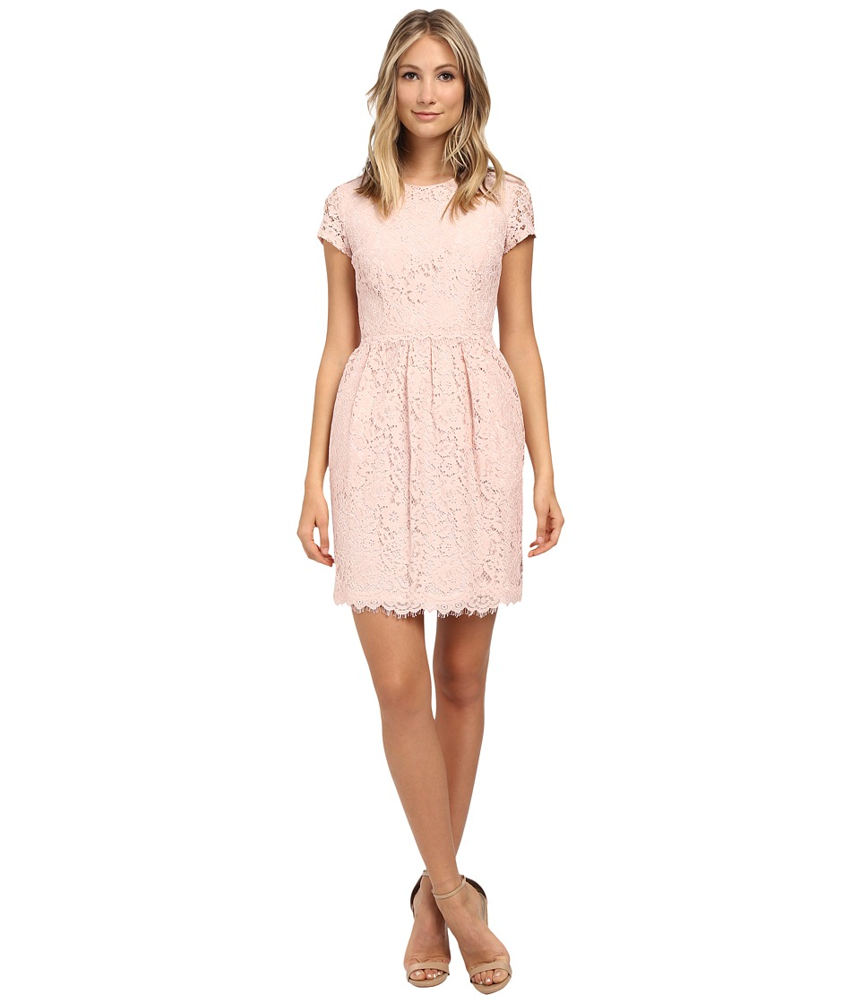 Donna Morgan - Short Sleeve Lace Dress w/ Rouched Waist (Pearl Pink) Women