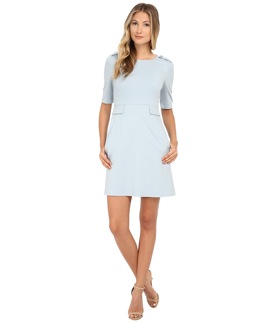 Donna Morgan - Short Sleeve Ponte Shift Dress (Baby Blue) Women