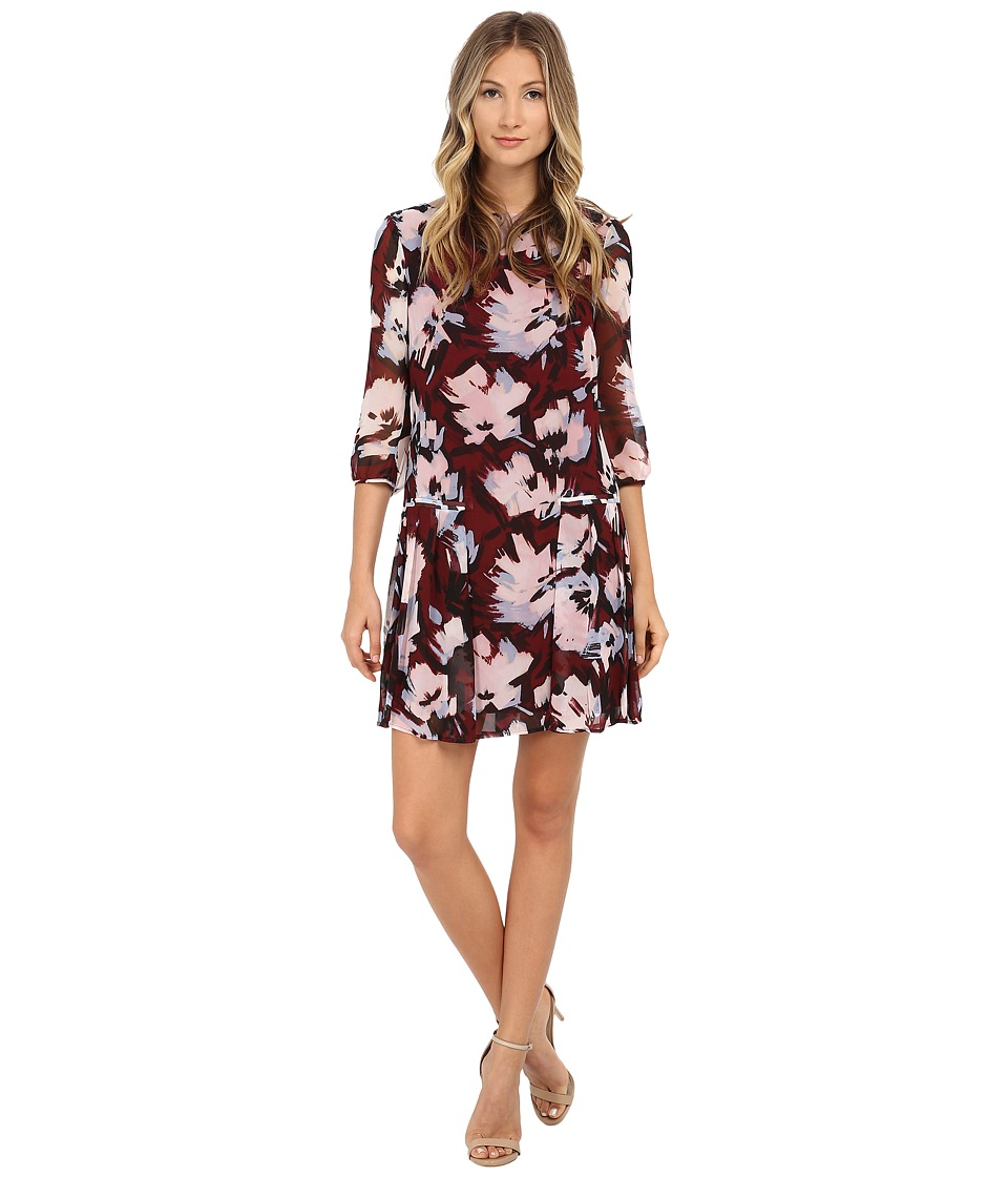 Donna Morgan - 3/4 Sleeve Printed Chiffon Dress with Pleated Skirt (Port Multi) Women