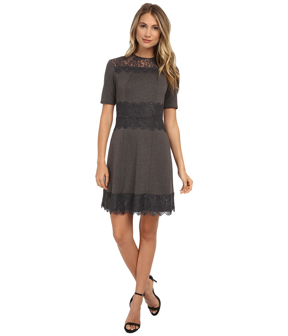 Donna Morgan - Short Sleeve Ponte Fit and Flare Dress with Lace Applique (Grey) Women