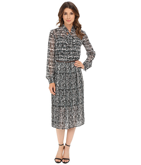 Donna Morgan - Long Sleeve Chiffon Midi Dress with Neck Tie (White Cap/Hunter Multi) Women's Dress