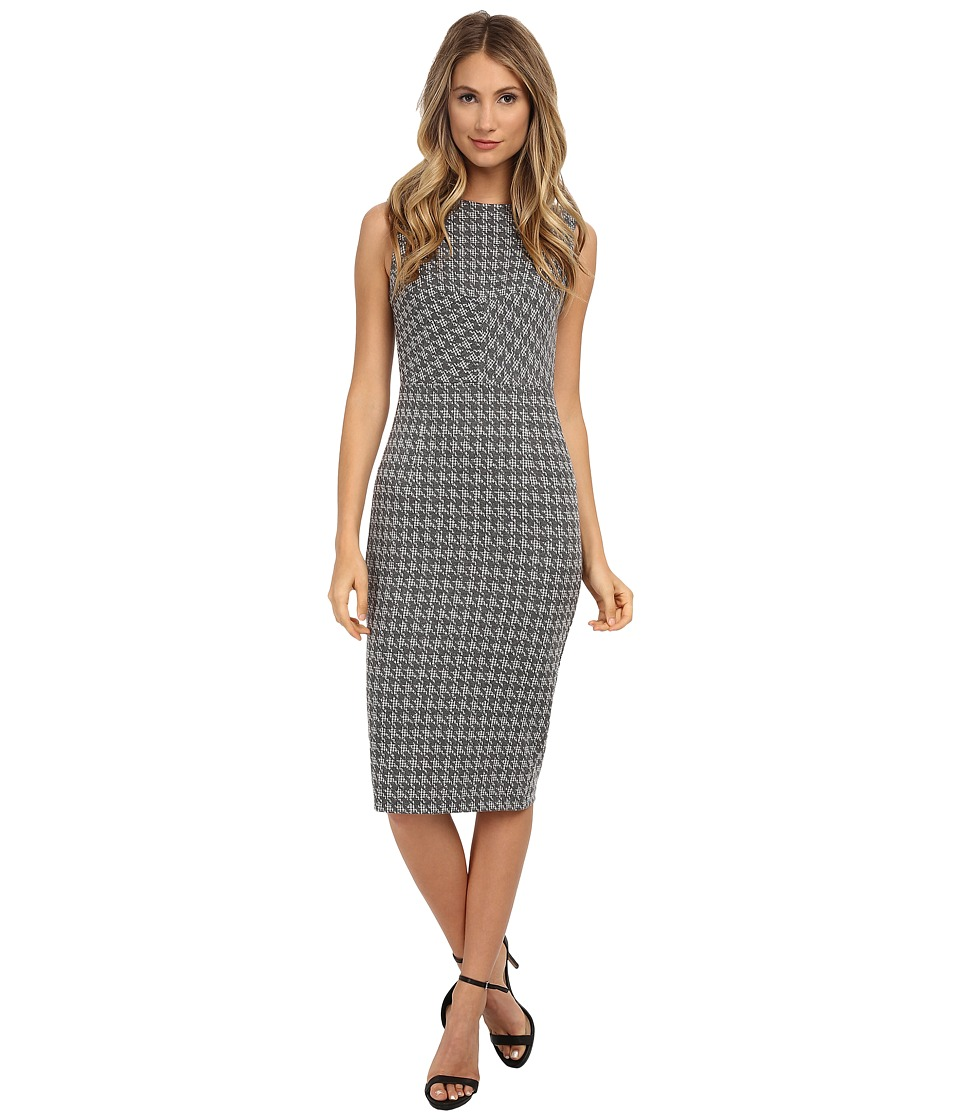 Donna Morgan - Sleeveless Knit Houndstooth Bodycon Dress (Grey) Women's Dress