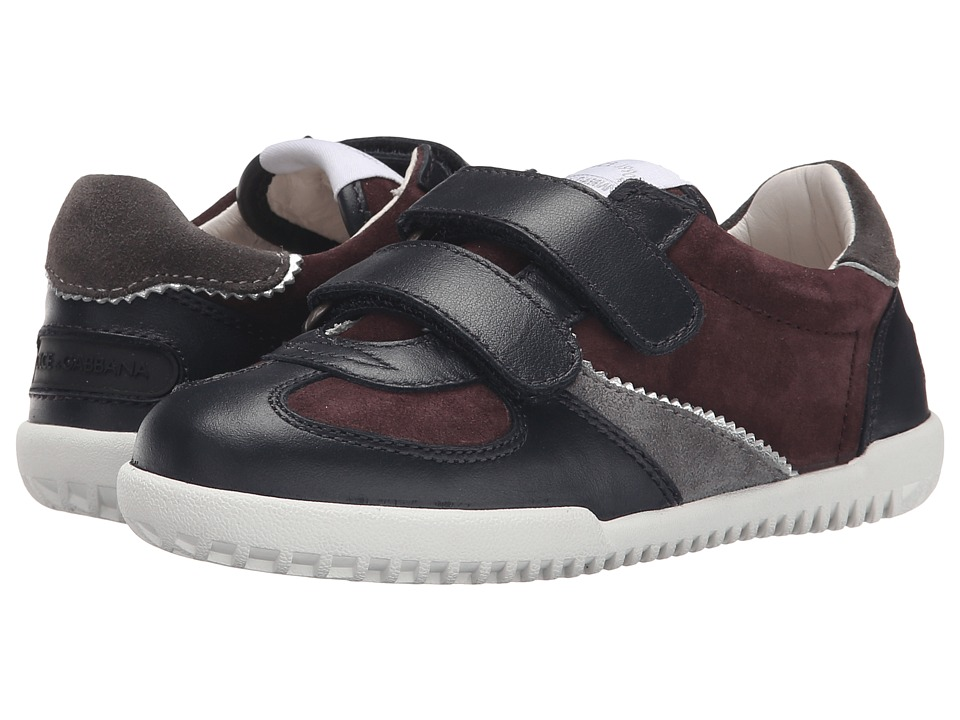 Dolce & Gabbana - Double Hook and Loop Sneaker (Little Kid) (Blue/Bordeaux) Men's Hook and Loop Shoes