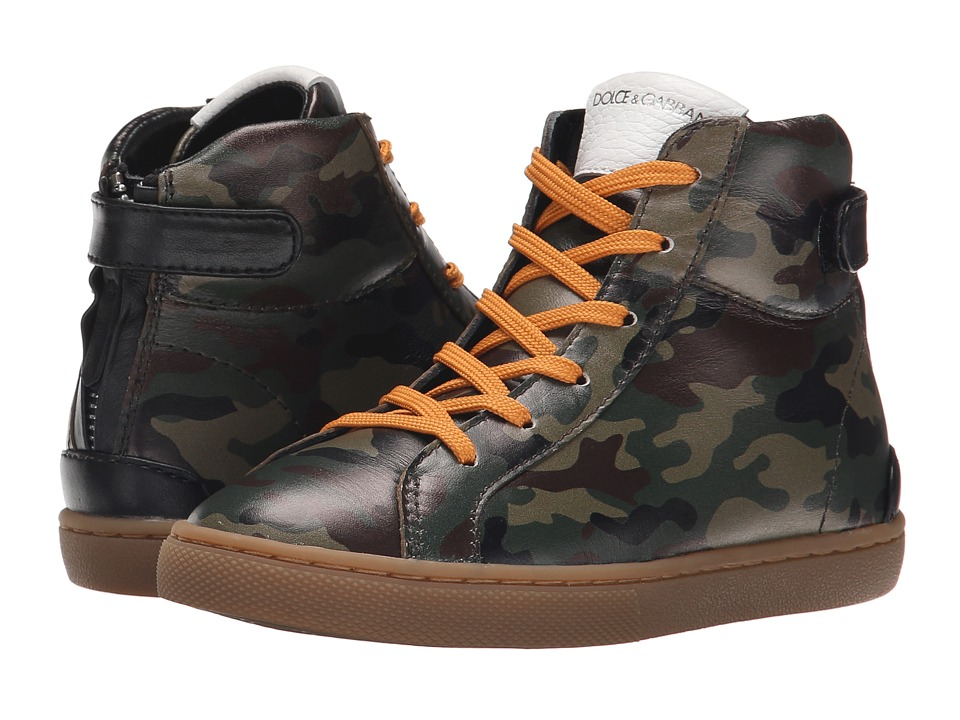 Dolce & Gabbana - Camo High Top (Little Kid) (Dark Green/Black) Men