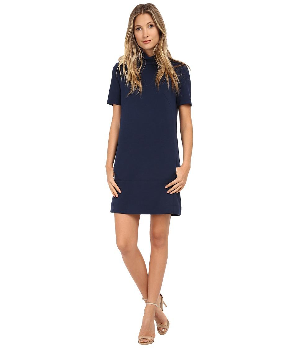 Donna Morgan - Short Sleeve Mock Turtle Ponte Shift (Denim Blue) Women's Dress