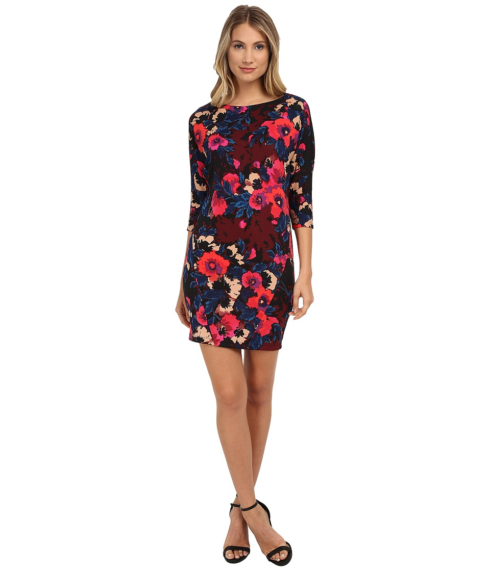 Donna Morgan - 3/4 Sleeve Printed Scuba Wedge Dress (Burgundy Multi) Women's Dress