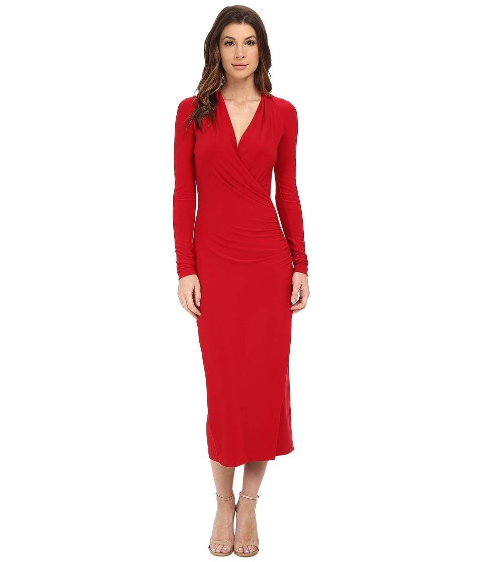 KAMALIKULTURE by Norma Kamali - Side Drape Mid-Calf (Red) Women's Clothing