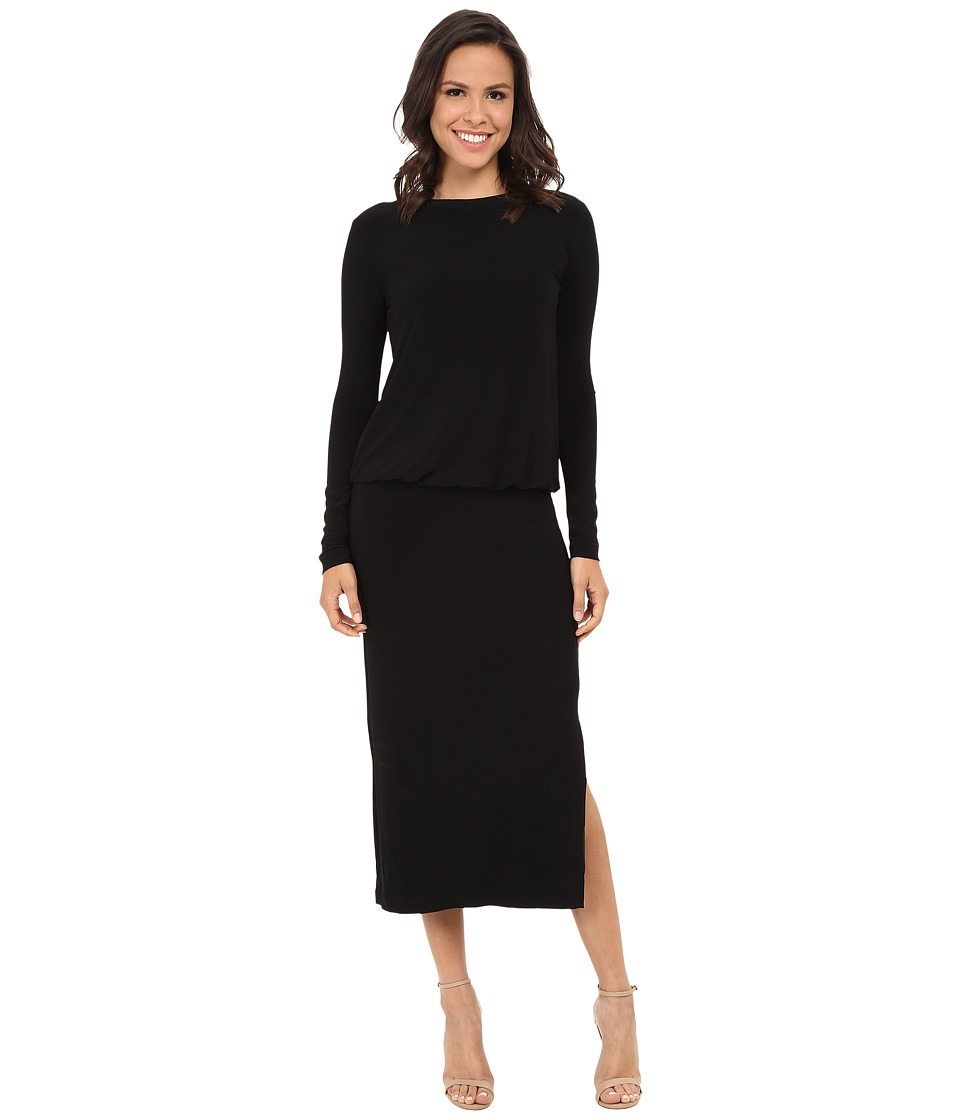 KAMALIKULTURE by Norma Kamali - Long Sleeve Crew Baby Doll Mid-Calf (Black) Women's Dress