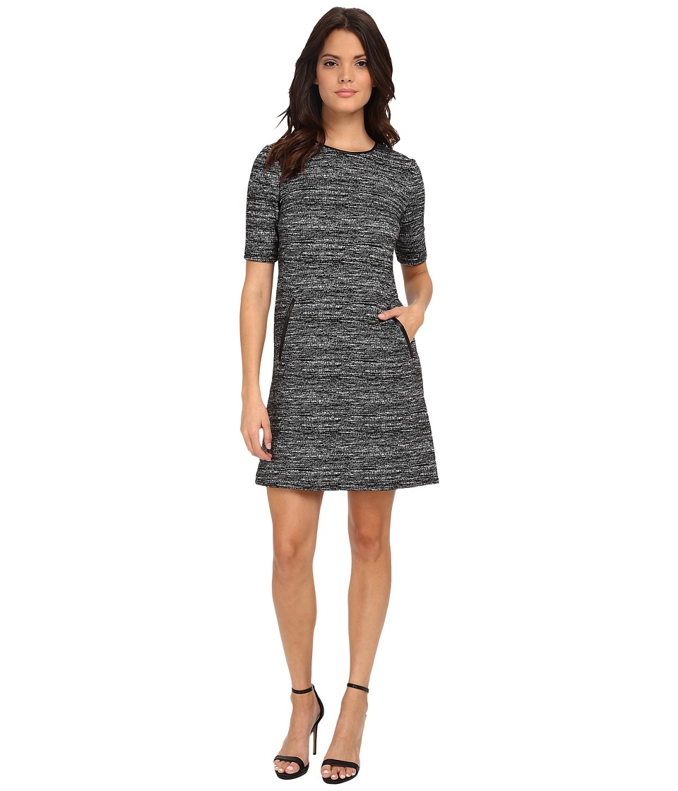 Donna Morgan - Short Sleeve Marble Knit T-Dress (Black/White) Women