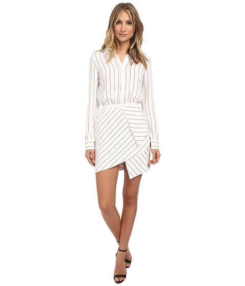 StyleStalker - Esquire Dress (White Linear) Women's Dress
