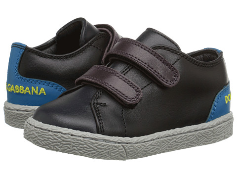 Dolce & Gabbana - Double Hook and Loop Sneaker (Toddler) (Blue/Black) Men