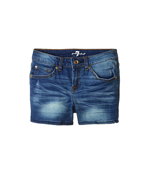 7 For All Mankind Kids - Midroll Shorts in Distressed Authentic (Big Kids) (Distressed Authentic) Girl's Shorts