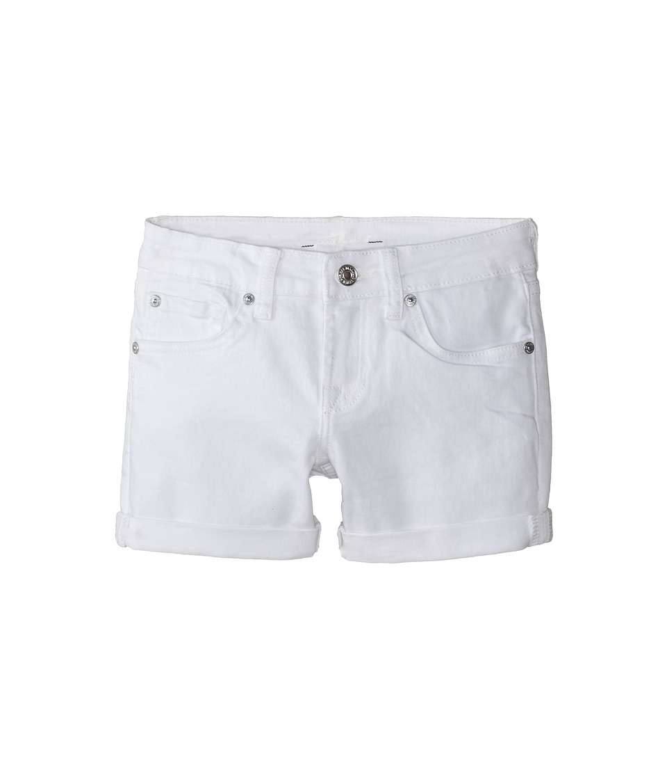 7 For All Mankind Kids - Midroll Shorts in Clean White (Big Kids) (Clean White) Girl's Shorts
