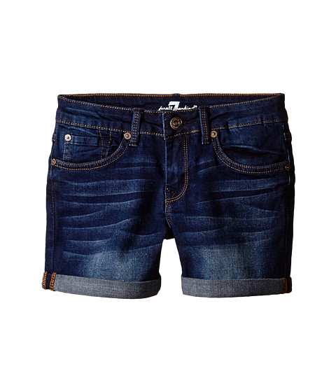 7 For All Mankind Kids - Midroll Shorts in Heritage Medium Dark (Big Kids) (Heritage Medium Dark) Girl's Shorts