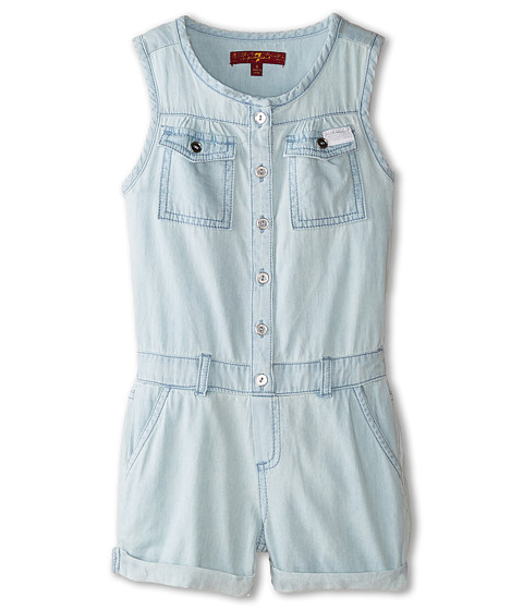 7 For All Mankind Kids - Denim Romper in Bleached Out (Little Kids) (Bleached Out) Girl