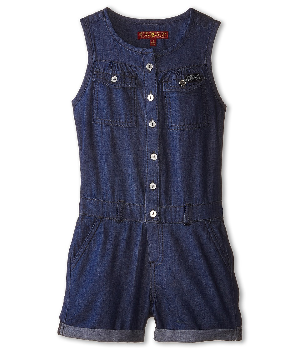 7 For All Mankind Kids - Denim Romper in Absolute Heritage (Little Kids) (Absolute Heritage) Girl