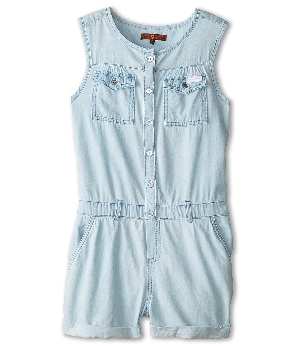 7 For All Mankind Kids - Denim Romper in Bleached Out (Big Kids) (Bleached Out) Girl's Jumpsuit & Rompers One Piece