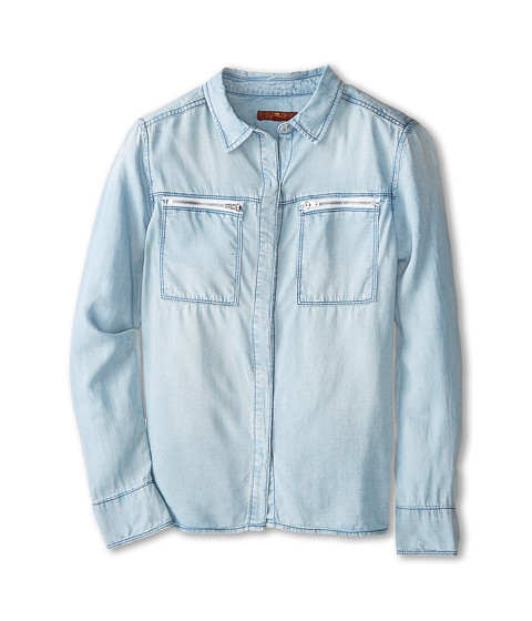 7 For All Mankind Kids - Chambray Shirt (Big Kids) (Bleached Out) Girl's Long Sleeve Button Up