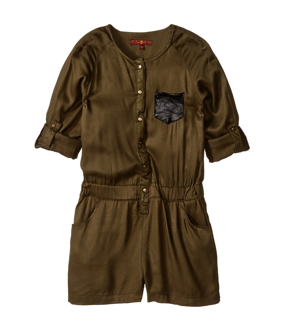 7 For All Mankind Kids - Long Sleeve Romper with Pocket (Big Kids) (Olive) Girl's Jumpsuit & Rompers One Piece