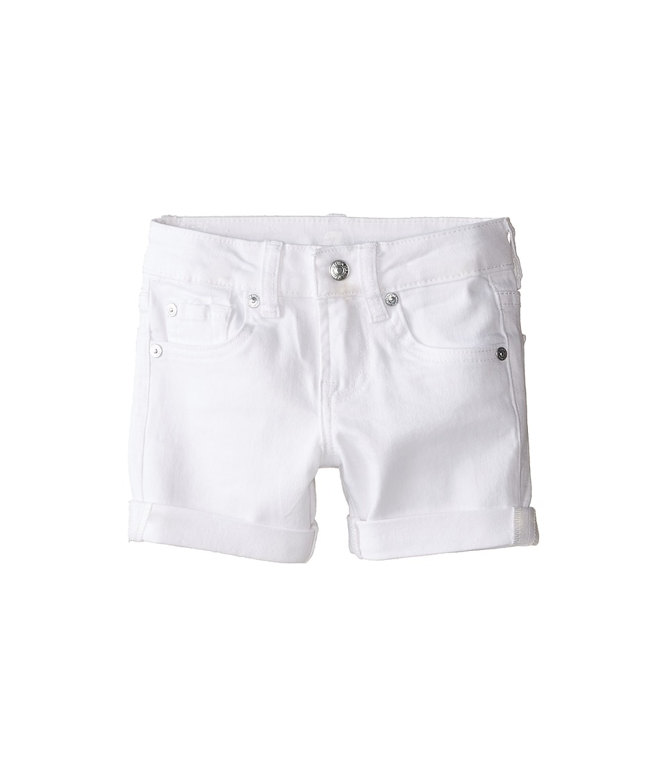 7 For All Mankind Kids - Midroll Shorts in Clean White (Little Kids) (Clean White) Girl's Shorts